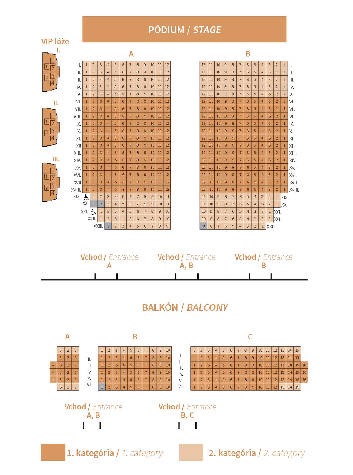 Slovenská filharmónia plán sedadiel Koncertná sieň