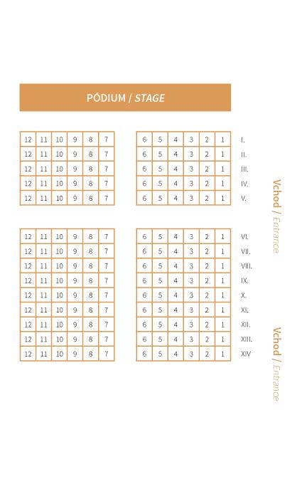 Slovenská Filharmónia – plán sedadiel malá sieň