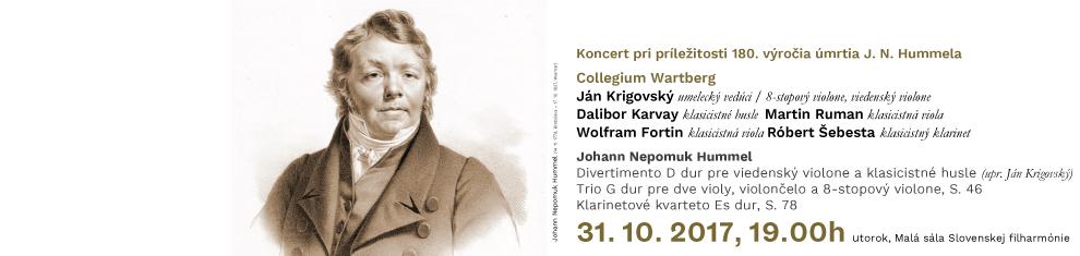 31. 10. 2017 Koncert pri príležitosti 180. výročia úmrtia J. N. Hummela